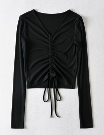 Fashion Black V-neck Drawstring Pleated Navel Threaded Long Sleeve T-shirt