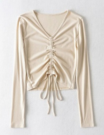 Fashion Beige V-neck Drawstring Pleated Navel Threaded Long Sleeve T-shirt