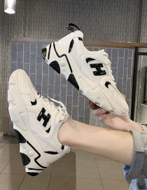 Fashion Beige Platform Letters Stitching Lace-up Old Shoes