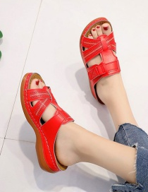 Fashion Red Wedge Heel Cross Hollow Slippers