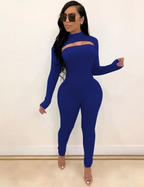 Fashion Blue Hollow Cutout Jumpsuit Long Sleeve Tight Pullover Suit