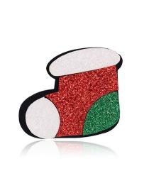 Fashion Colorful Felt Alloy Christmas Boot Brooch
