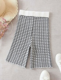 Fashion Black And White Jacquard-knit Check Slim Straight-leg Shorts