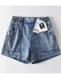 Fashion Flower Basket Pure Color Real Silk Pit Strip Washed Denim Shorts