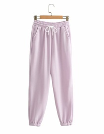 Fashion Pink Purple Belted Wide Loose Sport Straight-leg Pants