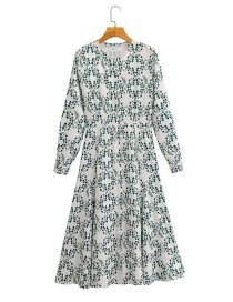 Fashion Green Flower Print Long Sleeve Single Breasted Dress