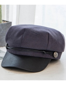 Fashion Navy Blue Woolen Leather Rope Stitching Contrast Color Octagonal Beret