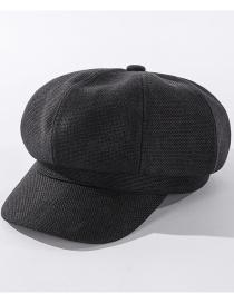 Fashion Black Cotton And Linen Solid Color Octagonal Cap