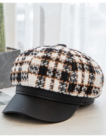 Fashion Black And White Grid Woolen Color Matching Checkered Leather-brim Octagonal Hat