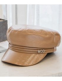 Fashion Camel Patent Navy Hat With Leather Letters