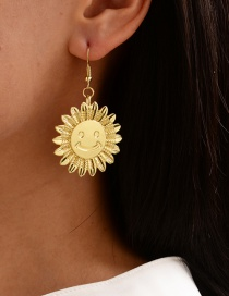 Fashion Gold Color Alloy Sun Smiley Earrings