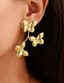 Fashion Gold Color Alloy Diamond Butterfly Geometric Stud Earrings