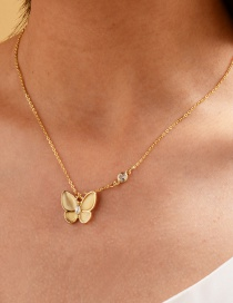 Fashion Gold Color Alloy Diamond Resin Butterfly Necklace