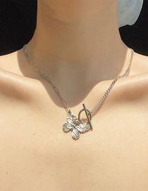 Fashion Silver Alloy Butterfly Ot Buckle Stitching Earrings