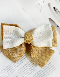 Fashion Linen White Big Bow Double Layer Linen Fabric Alloy Hairpin