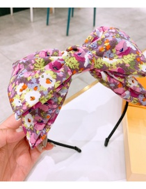 Fashion Pink Flowers Double-layered Headband With Flower Print Big Bow