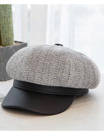 Fashion Gray Leather Brim Stitching Cashmere Octagonal Hat
