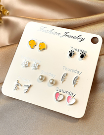 Fashion Color Mixing Micro-set Crystal Pearl Drop Oil Alloy Geometric Earrings Set