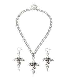 Fashion Silver Flame Pendant Alloy Necklace Earrings