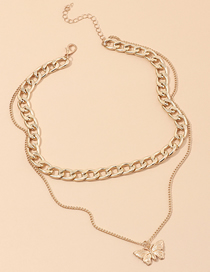 Fashion Gold Color Thick Chain Butterfly Alloy Double Necklace