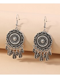 Fashion Silver Antique Silver Round Tassel Alloy Earrings