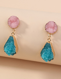 Fashion Color Mixing Crystal Cluster Drop Resin Contrast Alloy Earrings