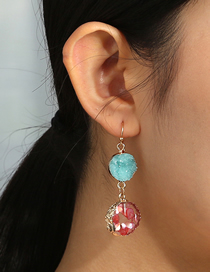 Fashion Color Mixing Contrast Color Imitation Natural Stone Alloy Geometric Round Earrings