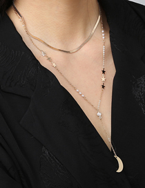 Fashion Gold Color Star Pearl Stitching Moon Multilayer Necklace