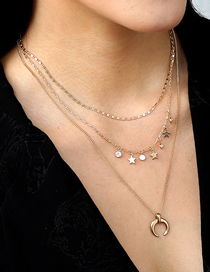Fashion Gold Color Diamond Five-pointed Star Moon Alloy Multilayer Necklace