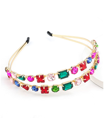 Fashion Color Geometric Alloy Hollow Double-layer Headband With Glass Diamonds