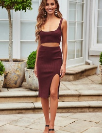 Fashion Red Wine Striped Knitted Vest Suspender Top Covered Hip Slit Skirt Suit