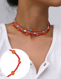 Fashion Necklace Red Rice Bead Woven Flower Beaded Geometric Necklace Bracelet Anklet