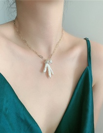 Fashion White High-gloss Shaped Pearl Multilayer Necklace
