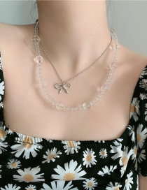 Fashion White Bowknot Resin Crystal Beads Alloy Multilayer Necklace