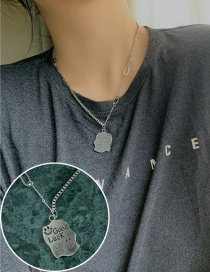 Fashion Silver Stainless Steel Small Square Brand Letter Smiley Necklace