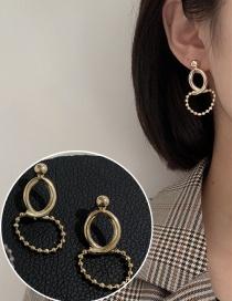 Fashion Gold+steel Needle Rice Bead Chain Geometric Stitching Alloy Earrings