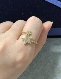 Fashion Golden Copper Inlaid Zircon Five-pointed Star Open Ring