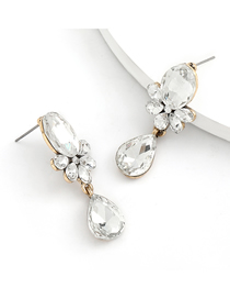 Fashion White Alloy Inlaid Glass Diamond Drop-shaped Multilayer Earrings
