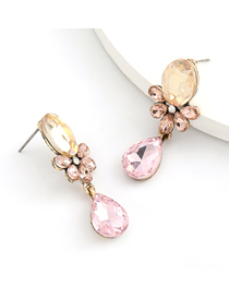 Fashion Gold Powder Alloy Inlaid Glass Diamond Drop-shaped Multilayer Earrings