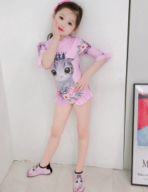 Fashion Light Pink Cat Long Sleeve Crown Cat Print Ruffled Childrens One-piece Swimsuit
