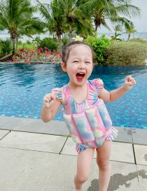 Fashion Triangle Colorful Buoyancy Suit Ruffled Tie-dye Childrens Buoyancy One-piece Swimsuit