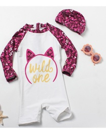 Fashion White Cat With Flower Ears Cat Print Contrast Color Childrens One-piece Swimsuit