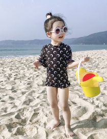 Fashion Black Crescent Tether Strap Moon Print Childrens One-piece Swimsuit