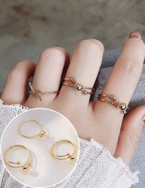 Fashion Golden Knotted Geometric Circular Hollow Ring Set