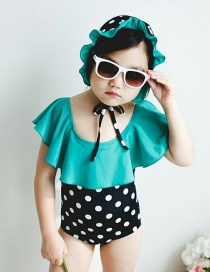 Fashion Green + Wave Lotus Leaf Lace Color Matching Polka-dot Sling Childrens One-piece Swimsuit