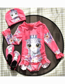 Fashion Rose Red Cat Long Sleeve Cat Crown Ruffle Printed Childrens Split Swimsuit