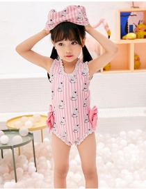 Fashion Pink Bear Childrens One-piece Swimsuit With Bear Print Bowknot And Wooden Ears