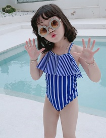 Fashion Blue Vertical Bars Lace-up Striped Ruffled Childrens One-piece Swimsuit