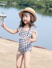 Fashion Black And White Grid + White Ball Check Fringed Ruffled Childrens One-piece Swimsuit