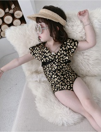 Fashion Black Leopard Ruffled Leopard Print Childrens One-piece Swimsuit